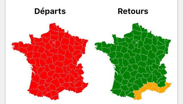 France 🇫🇷 / Circulation 🛣 - Bison futé prévoit une journée classée rouge 🔴 dans le sens des départs.
