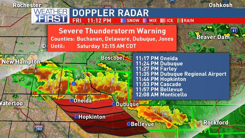 SEVERE THUNDERSTORM WARNING for #Buchanan, #Delaware, #Jones &amp; #Dubuque counties until 1215. Winds of 60 mph, hail &amp; heavy rain likely #iawx<br>http://pic.twitter.com/AZCMZ1gnKK