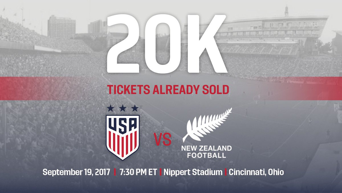 Give yourself a round of 👏, Cincinnati! Already 20,000 tickets sold for #USAvNZL on Sept. 19.  🤗🎟 See you there: https://t.co/pJ4WPZwjBV.