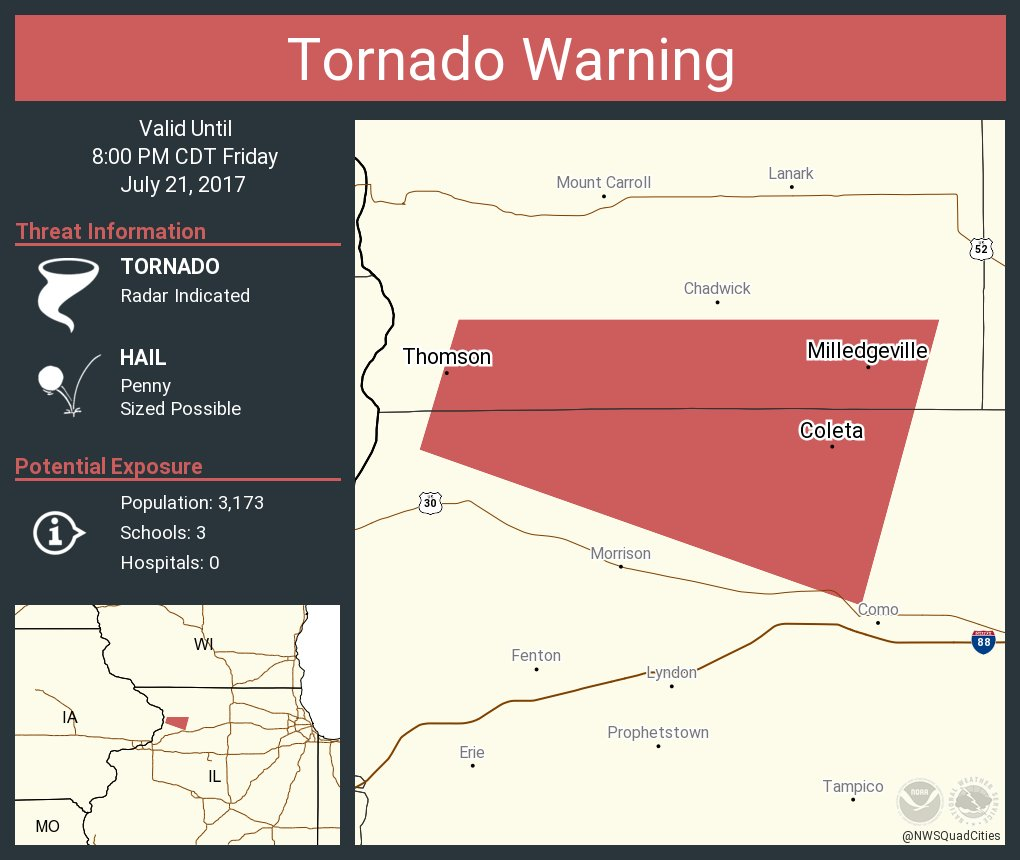 Thomson Illinois Map.Nws Tornado On Twitter Tornado Warning Including Milledgeville Il