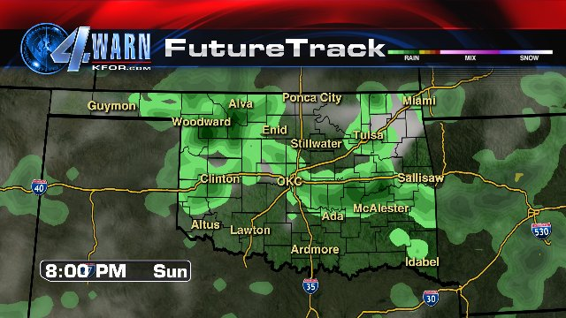 Green on the map! Guidance continues hinting at good rain chances Sunday and Monday, along with cooler temps! #OKWX