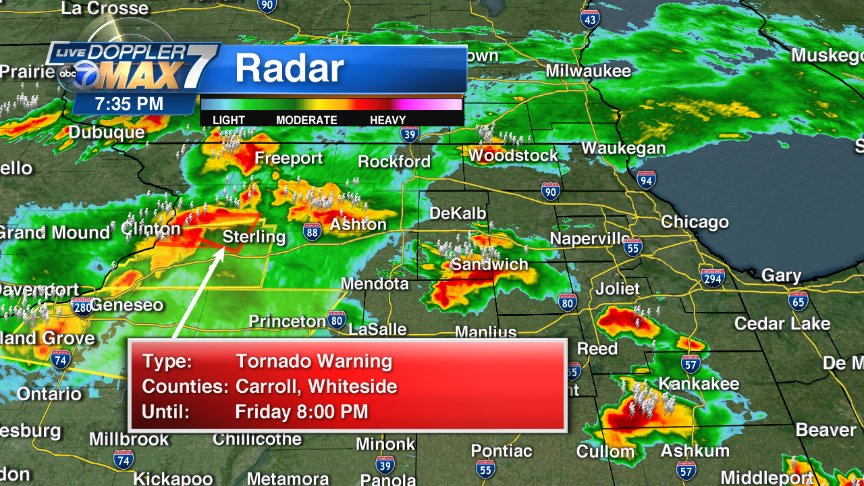 At 7:35 no warnings in our area but there is a tornado warning to our west. It's going to be a rough night