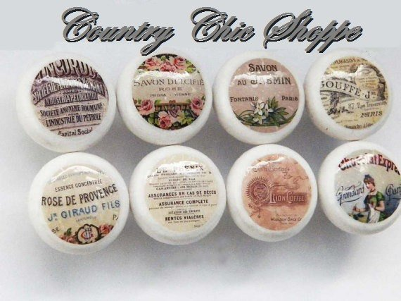 Shaker Style Knobs Themed with Vintage French Logos, Set of 8 o…  http:// etsy.me/2tfSKnV  &nbsp;   #decorativeknobs #Decoupage<br>http://pic.twitter.com/XrpAZokhjq
