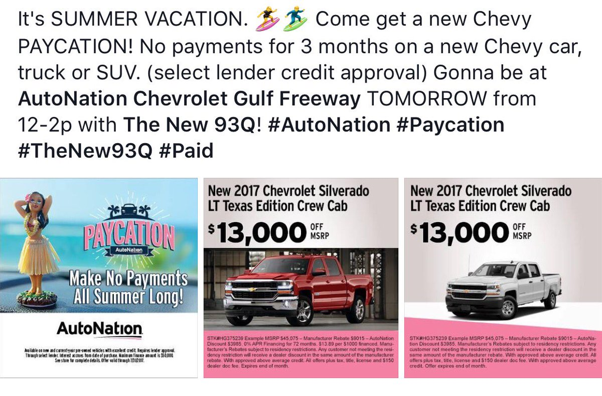 ... AutoNation Chevrolet Gulf Freeway. 0 Replies 1 Retweet 3 Likes