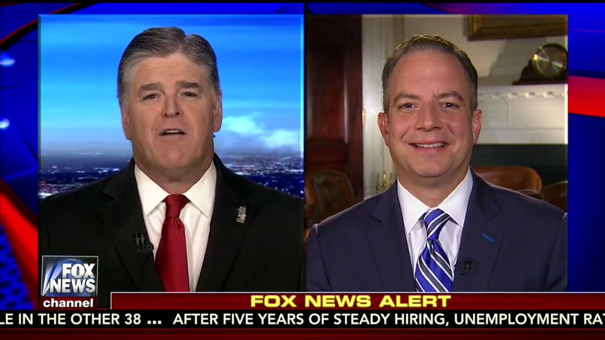 Reince on deck. One of 1st questions from Hannity: Mooch knows how to make money. what were you thinking not working for him?