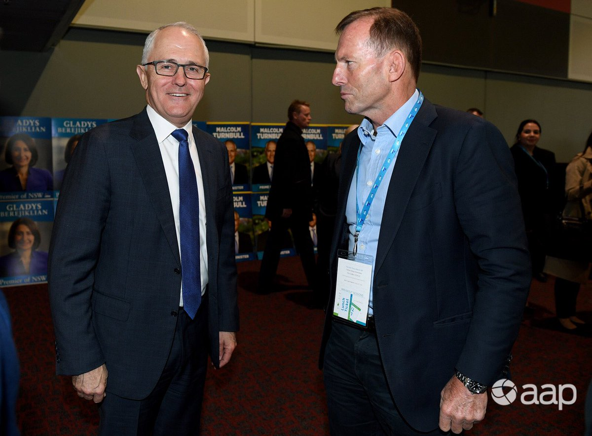 PM Turnbull and former PM Abbott briefly cross paths at the NSW Liberal Party Futures convention in Sydney. #aap #auspol @AAPNewswire<br>http://pic.twitter.com/14EZcr3nHo