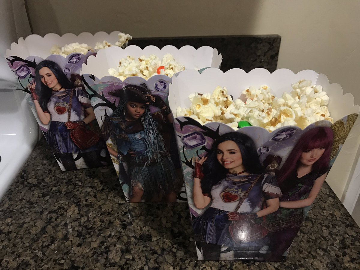 #Descendants2 has started, and I just served round 1 of snacks at our dance/slumber party!   The #Sailor has retreated to his #ManCave.  <br>http://pic.twitter.com/mHyFMIDwxY