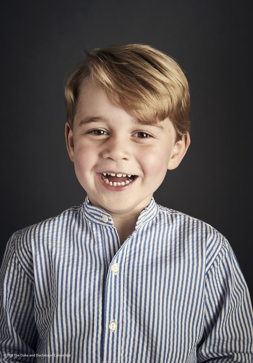 The Duke and Duchess of Cambridge are delighted to share a new official portrait of Prince George to celebrate his 4th birthday today.🎈