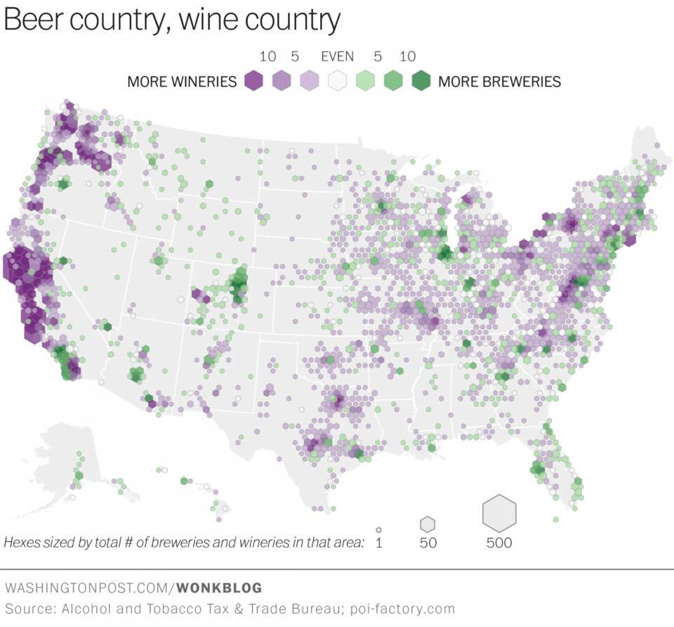 Fascinating map: distribution of wineries and breweries throughout the US. #winechat #wine  http:// wapo.st/1FzPPUY  &nbsp;  <br>http://pic.twitter.com/5msYo8Cxcl