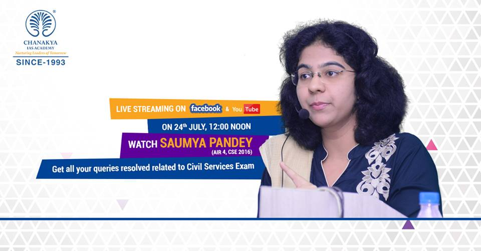 Meet #SaumyaPandey in #LiveSession who bagged Rank 4th in her First Attempt in #IAS Exam  https://www. facebook.com/events/3269452 81094047/ &nbsp; …  #UPSC #CivilServices #CSE<br>http://pic.twitter.com/OwPr7a3hVj