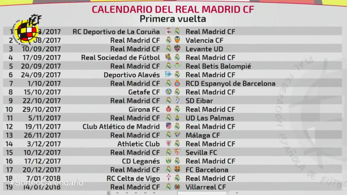 Calendario Del Real.Madridistas C On Twitter Calendario Real Madrid Laliga