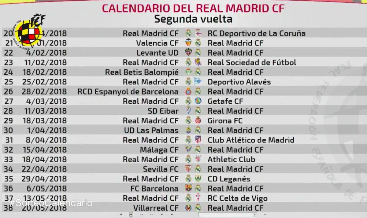 Calendario Real Madrid.Madridistas C On Twitter Calendario Real Madrid Laliga 2017 18