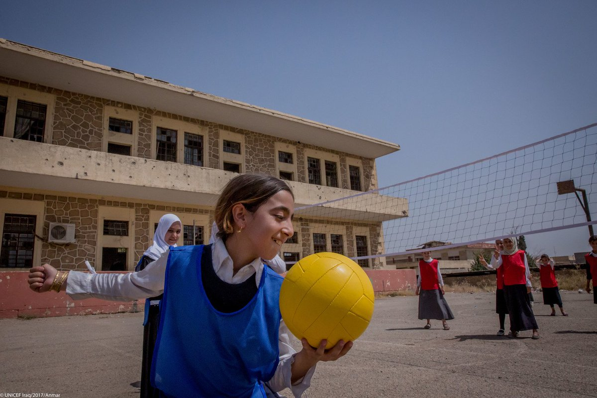 #Iraq: 'I love to play volleyball with my old friends!' Noor, 9, returned to school after 3 years because of conflict in Mosul. @UNICEFiraq