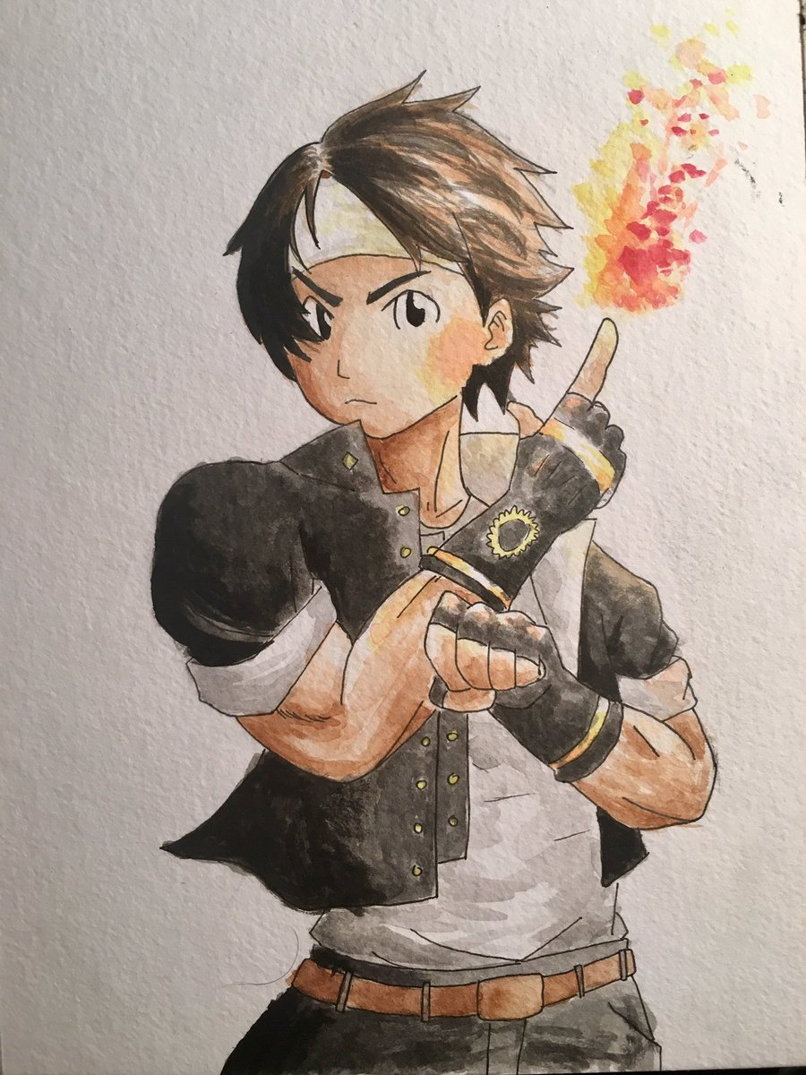 Kyo Kusanagi from King of Fighters #watercolor <br>http://pic.twitter.com/bEc98jxfZU