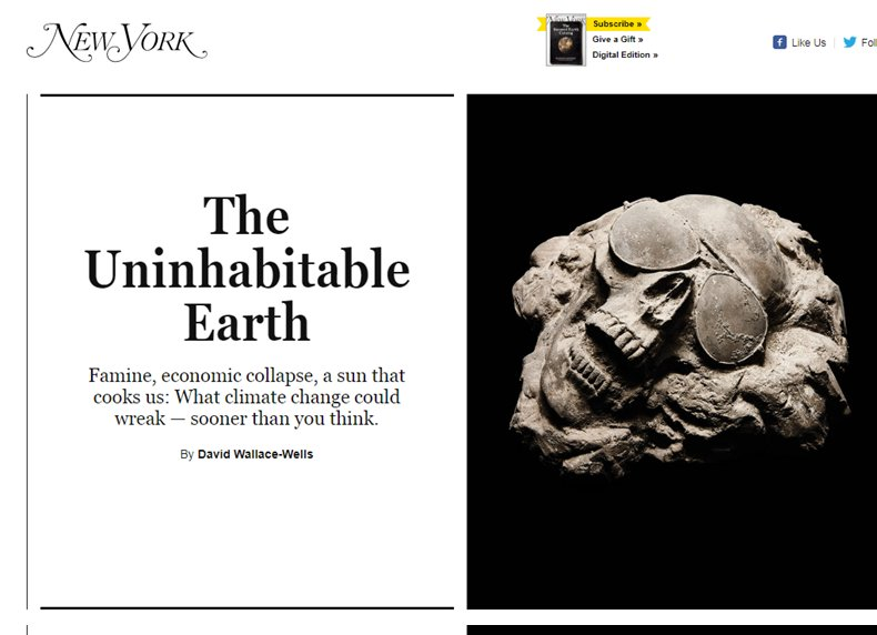 """Is """"Uninhabitable Earth"""" good #scicomm? What's your conclusion--& what is best argument on other side? https://t.co/jC5RTgVJ1H"""