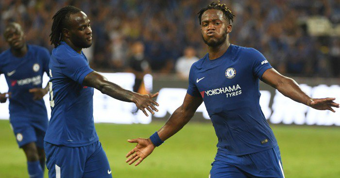 Victor Moses relaxes in pool with Chelsea teammates