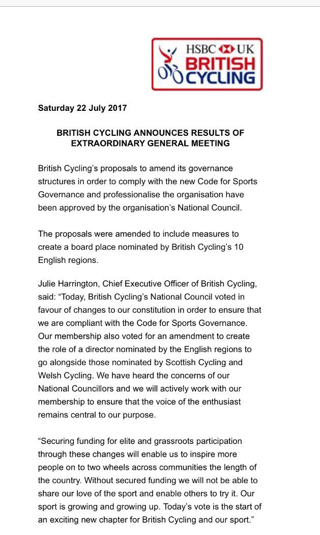 British Cycling's Nat Council approves amended governance reforms at EGM, avoiding £43m funding cut. English regions granted board place