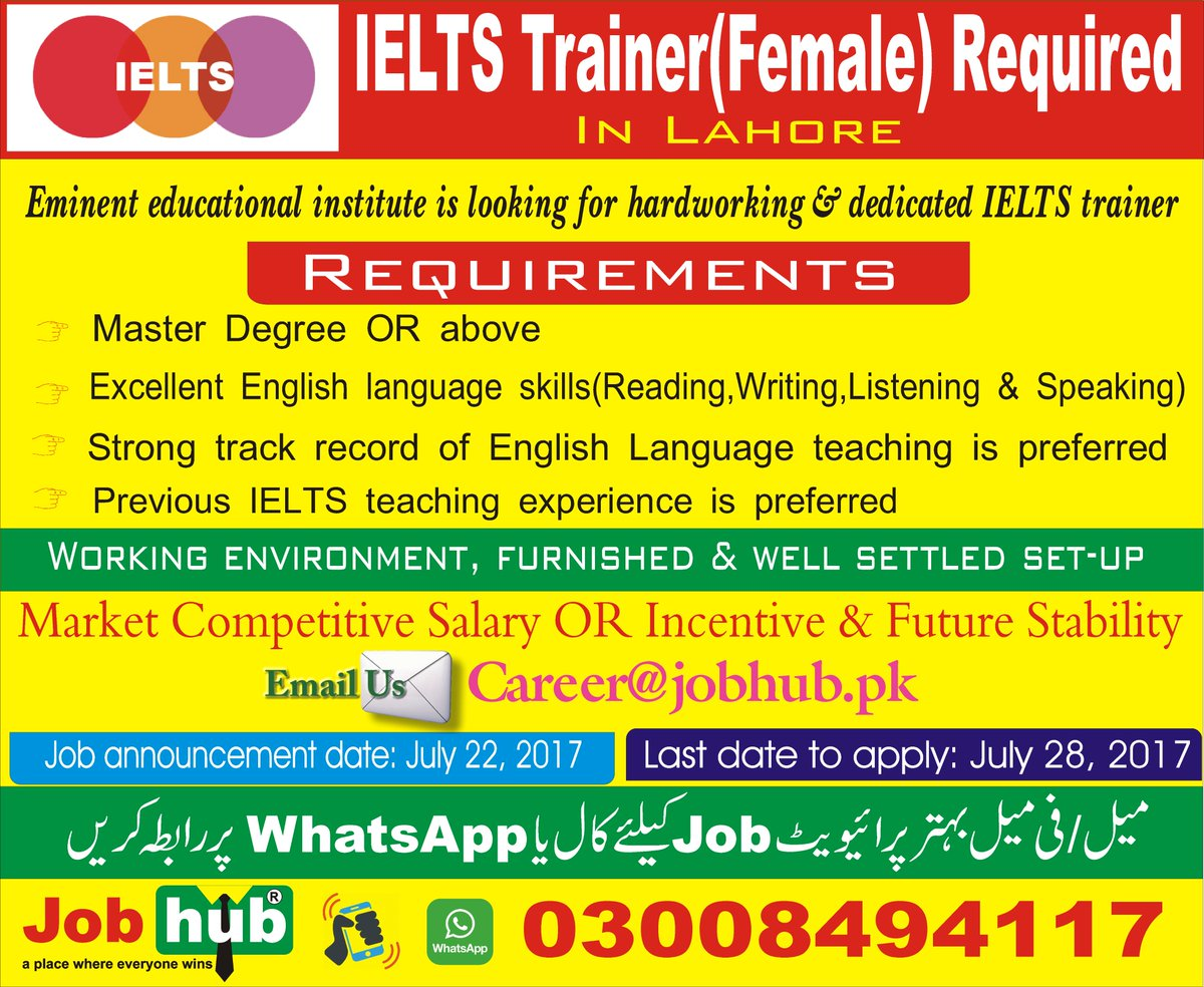 Job Hub On Twitter Ielts Trainer Female Required In Lahore For