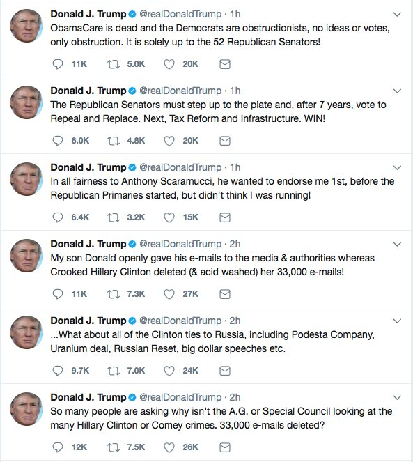 This morning&#39;s tweets have everything:  Fake News Pardons Emails Uranium &quot;52 senators&quot;  Don Jr.  #SaturdayMorning <br>http://pic.twitter.com/gZpv31QucT