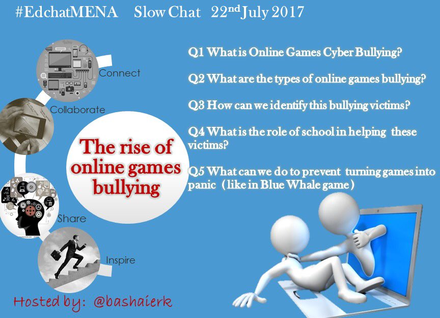 Join #edchatMENA today,thanks to @DrNuhaila for suggesting the topic #edchat #satchat #asiaed #cyberbullying #games #bullying #satchatwc https://t.co/md2CaxVpRs