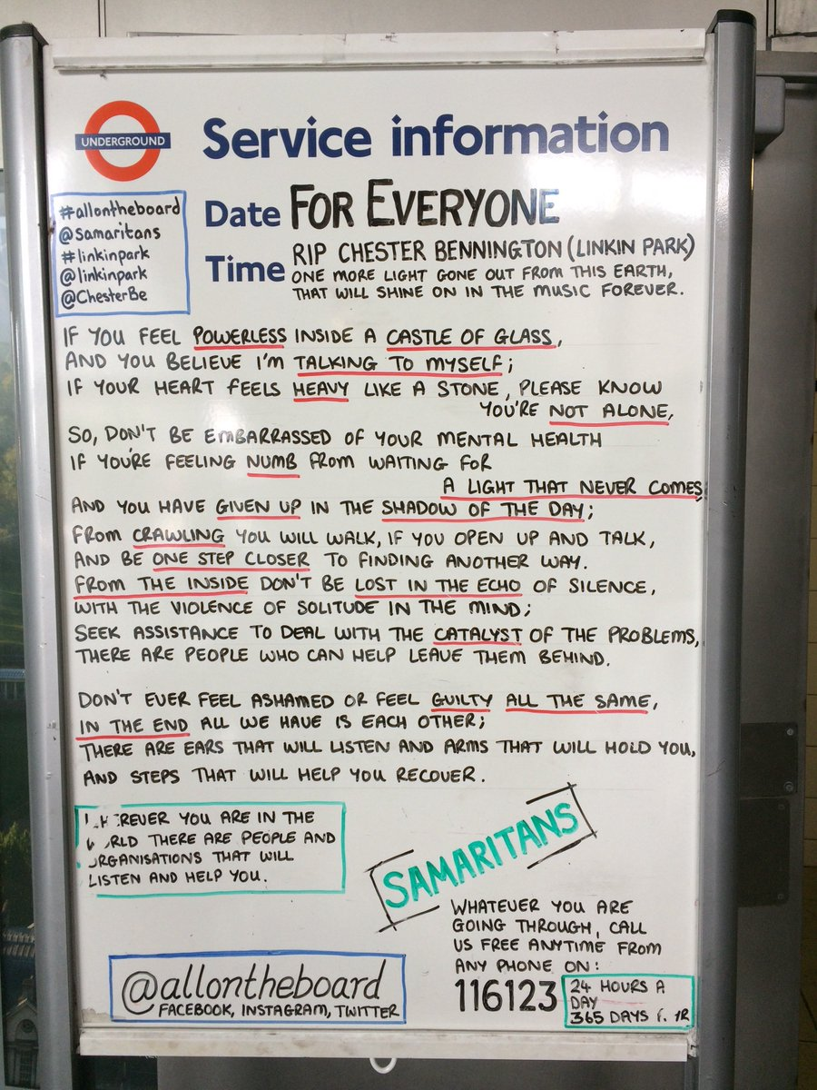I don't know Linkin Park, but this at Stratford station via @allontheboard is exceptionally moving. Well done @TfL https://t.co/JovGO2rTu6