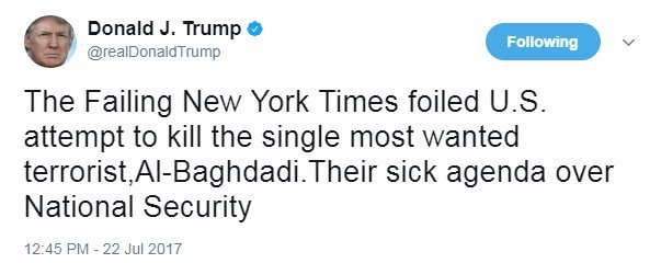 Donald Trump accuse le New York Times d'avoir empêché une tentative américaine de tuer le chef de Daech Al-Baghdadi