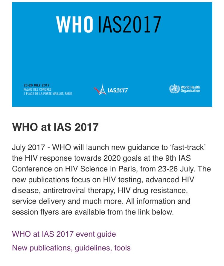 At #IAS2017 @IAS_conference? Join @WHO launches of new #guidelines, tools: advanced disease #dolutegravir #eid  http:// bit.ly/2tfw0b7  &nbsp;  <br>http://pic.twitter.com/xjnWZ6MWpN