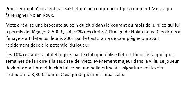 Explication simple du possible montage financier de Metz pour financer l'arrivée de Nolan Roux sans se soucier du FPF.