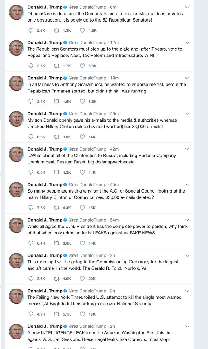 It's only 8:30 am and the President's stream of thoughts is openly flowing  on twitter, including multiple false claims.