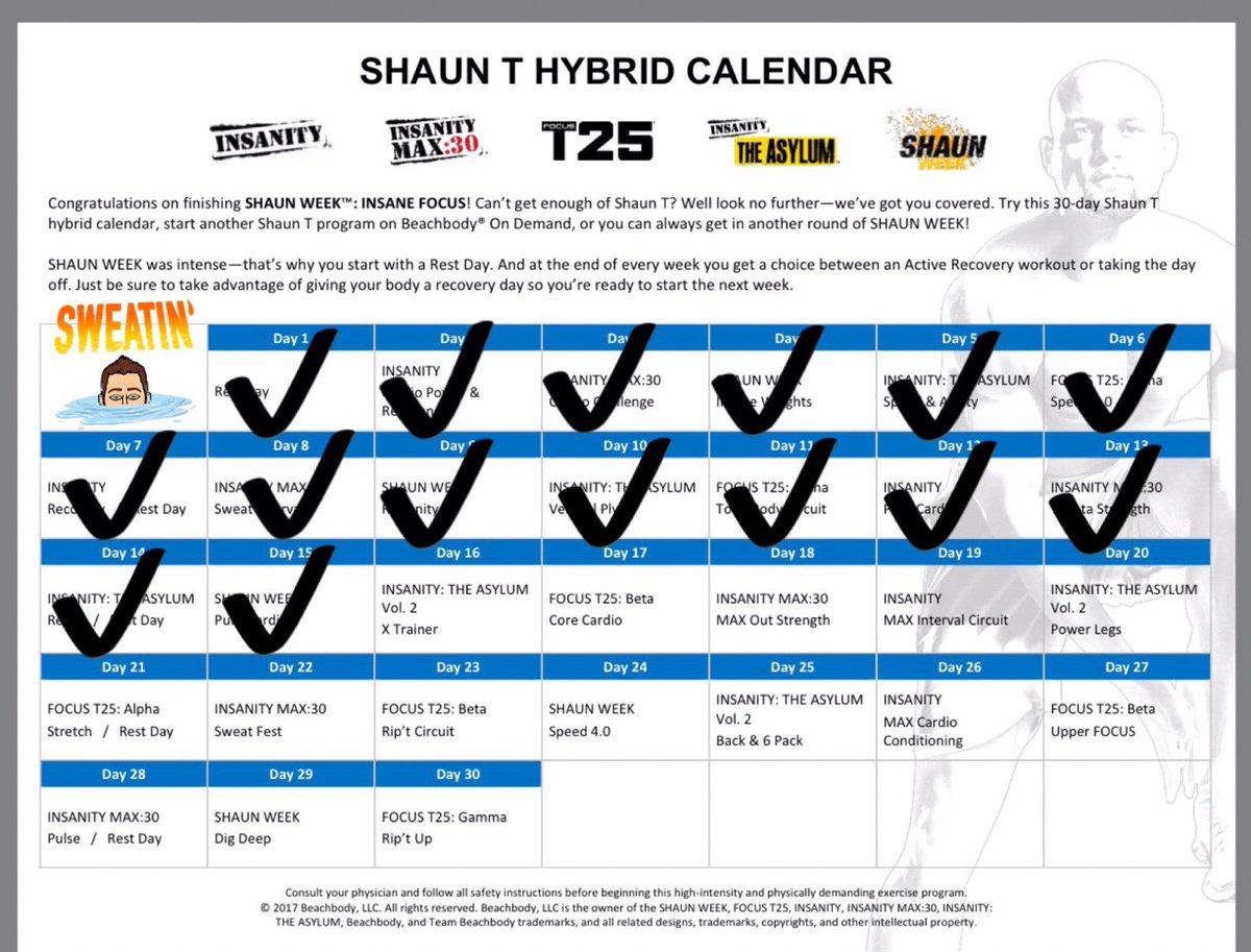 T25 Gamma Hybrid Schedule Workout