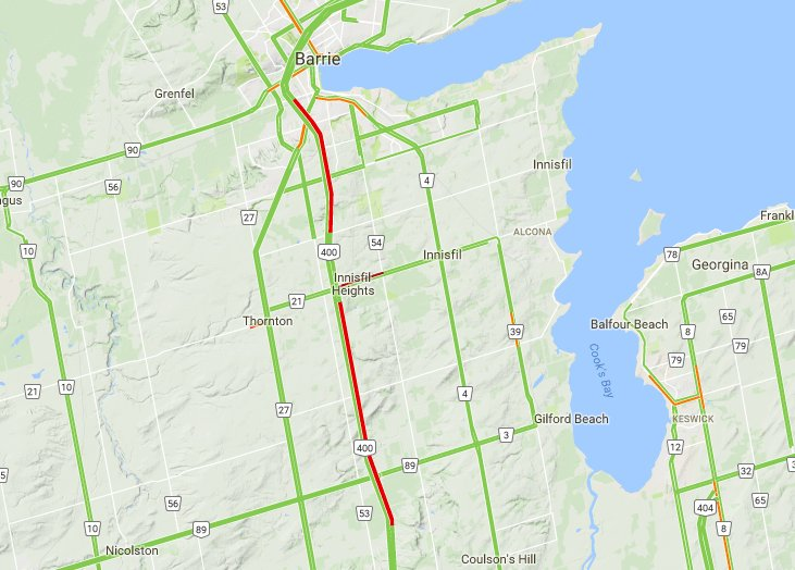 #Barrie: Hwy400 NB #traffic is slowly moving due to a previous #collision causing #HugeBackUp #AvoidArea #DriveSafe<br>http://pic.twitter.com/w6Age4xpqu