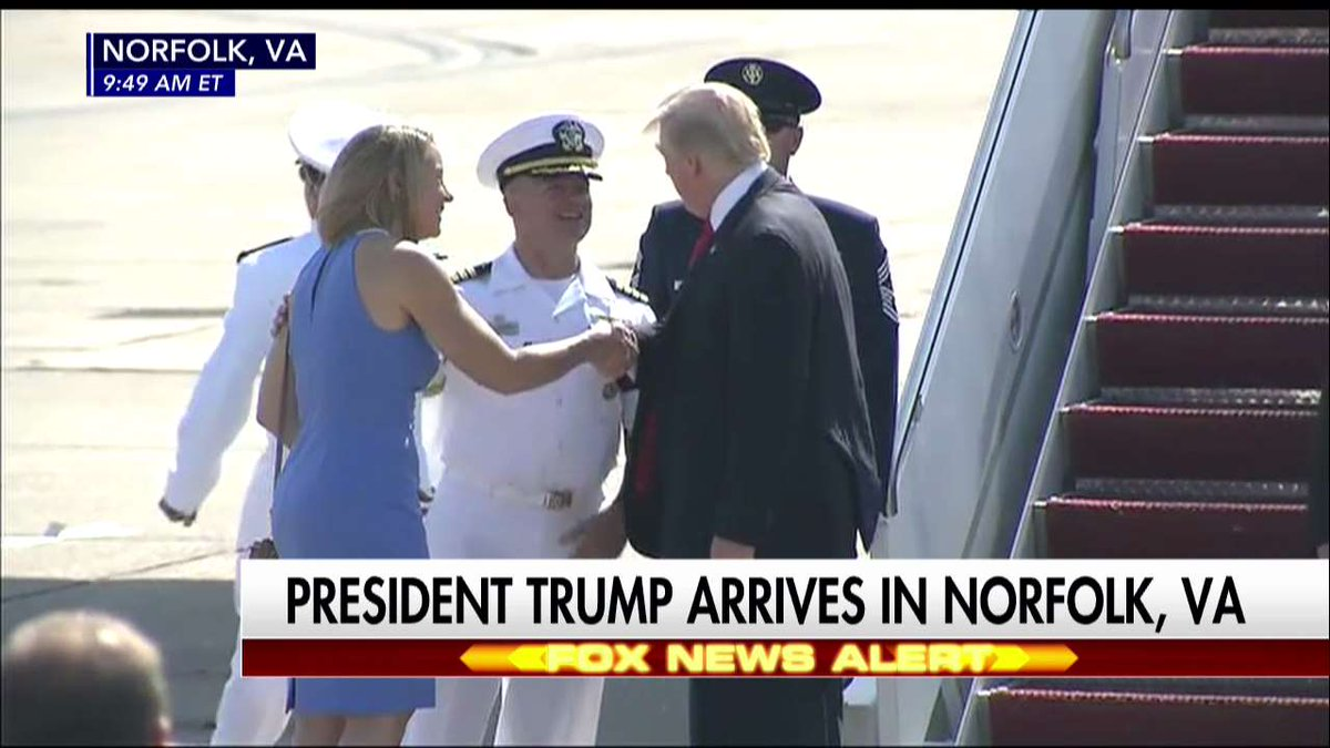 Happening Now: @POTUS arrives in Norfolk, VA, for the commissioning of the USS Gerald Ford.