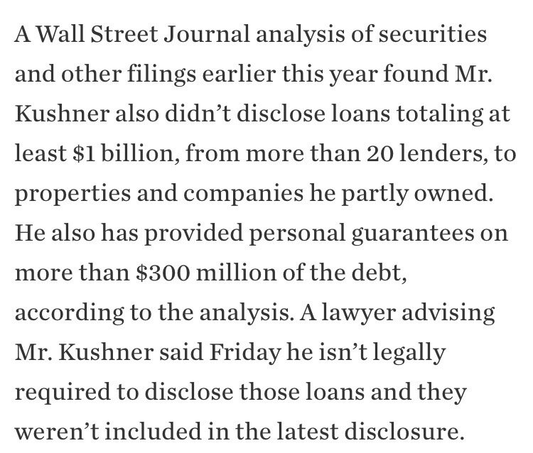 .@WSJ found $1B in undisclosed loans to firms Kushner partly owns. Not in revised file either https://t.co/tCWIbkgSWO