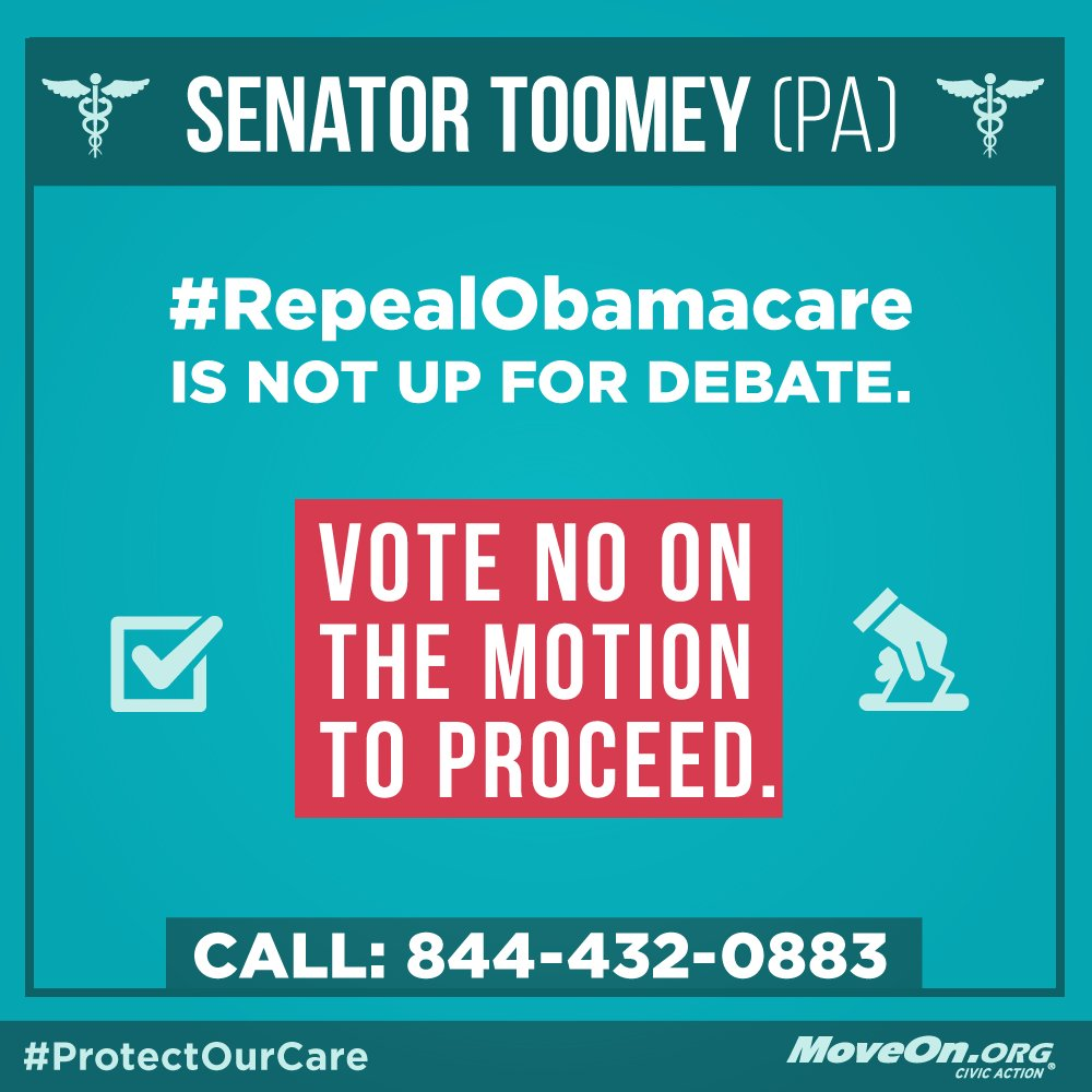 RT: @SenToomey #RepealAndRun is not up for debate. #KillTheBill & #ProtectOurCare!