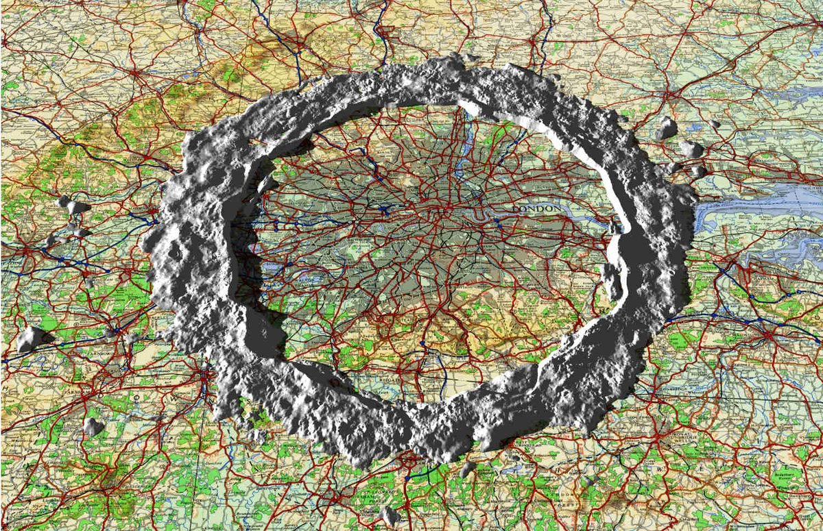 The walls of #lunar #crater Copernicus on a map of south east #England #sciart #spaceart I hope this shows the scale of lunar features!<br>http://pic.twitter.com/378KtxIscK