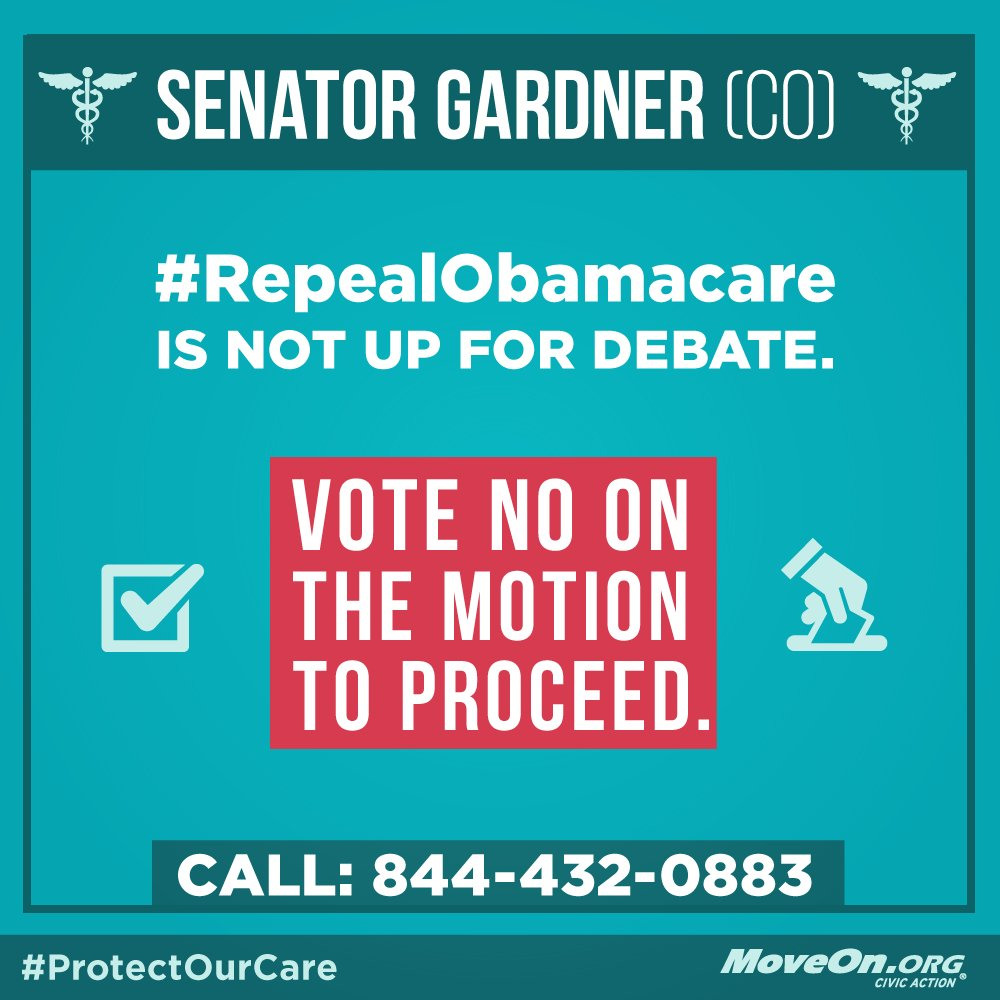 RT: @CoryGardner #RepealAndRun is not up for debate. #KillTheBill & #ProtectOurCare!