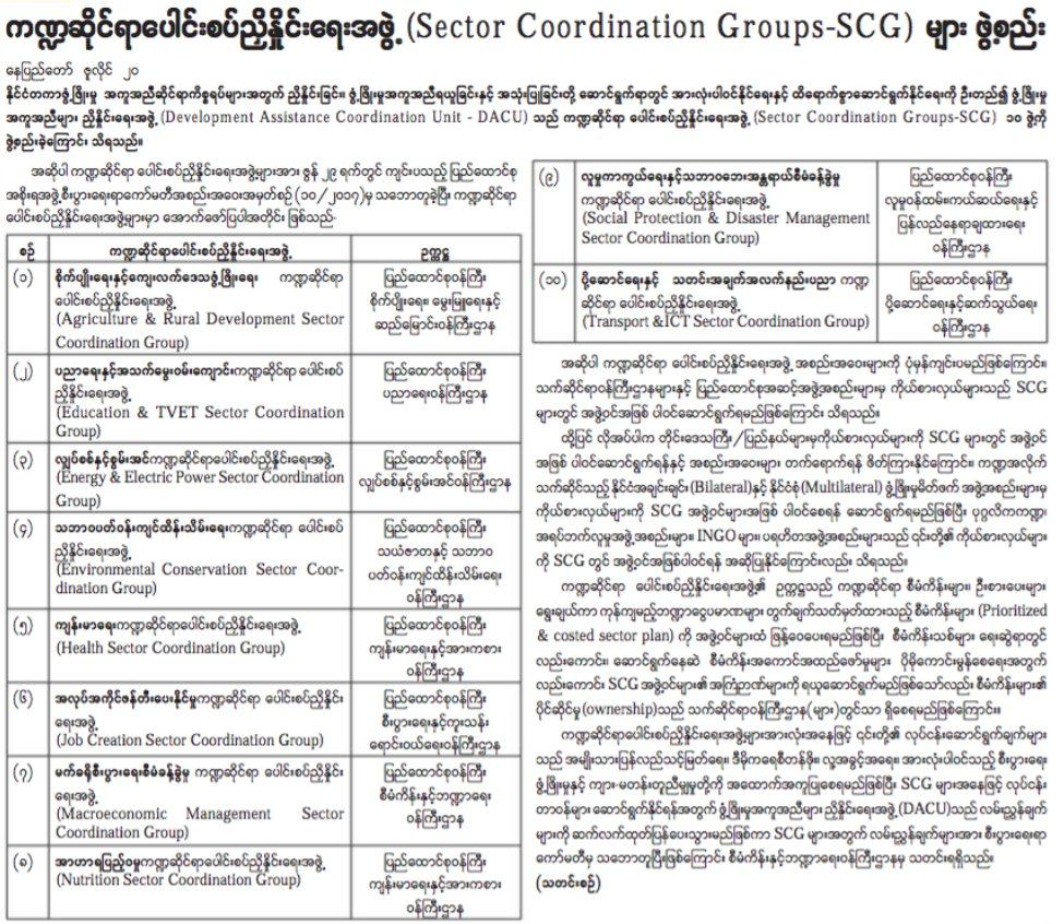 #Myanmar Gov&#39;t announces 10 new &#39;Sector Coordination Groups&#39; #aideffectiveness #GPEDC #aidtransparency #globaldev   https:// issuu.com/myanmarnewspap er/docs/mal_21.7.17 &nbsp; … <br>http://pic.twitter.com/sa0kGYTskB