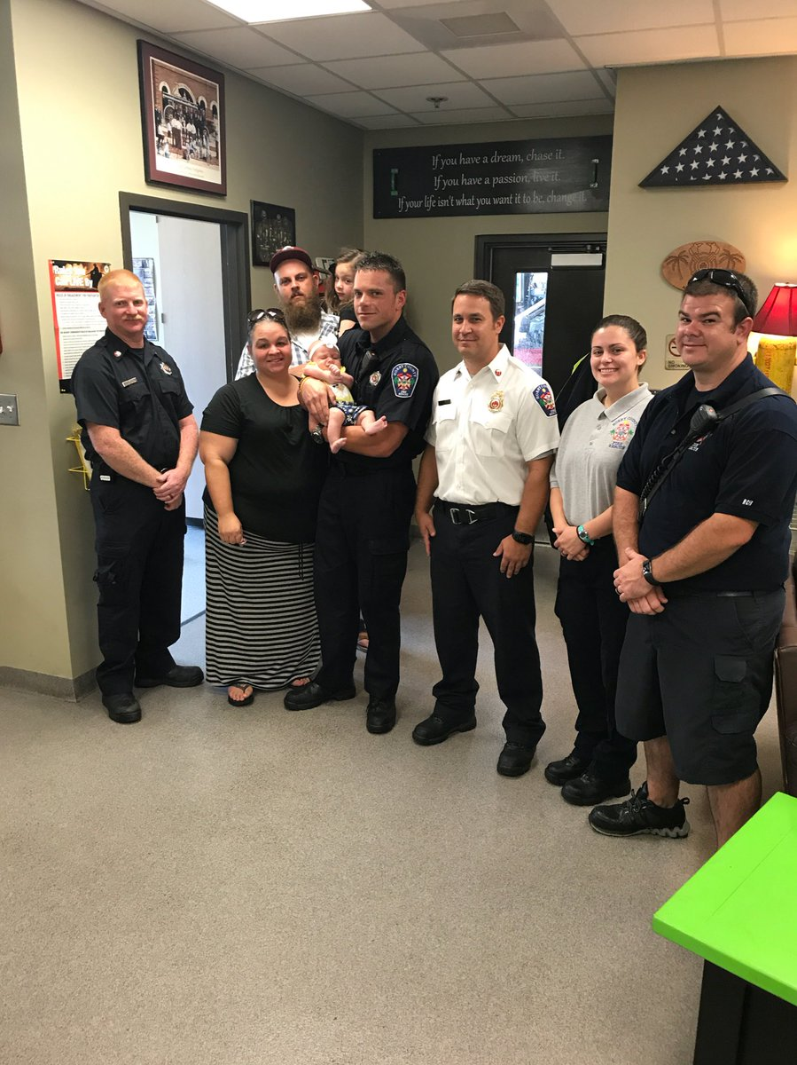 A GREAT DAY for @hcfirerescue Station 8. In June the crew worked a &quot;Full Arrest&quot; on Baby Melissa. Today they met her on a #GoodDay #BeSafe <br>http://pic.twitter.com/AsjcFaGqWN