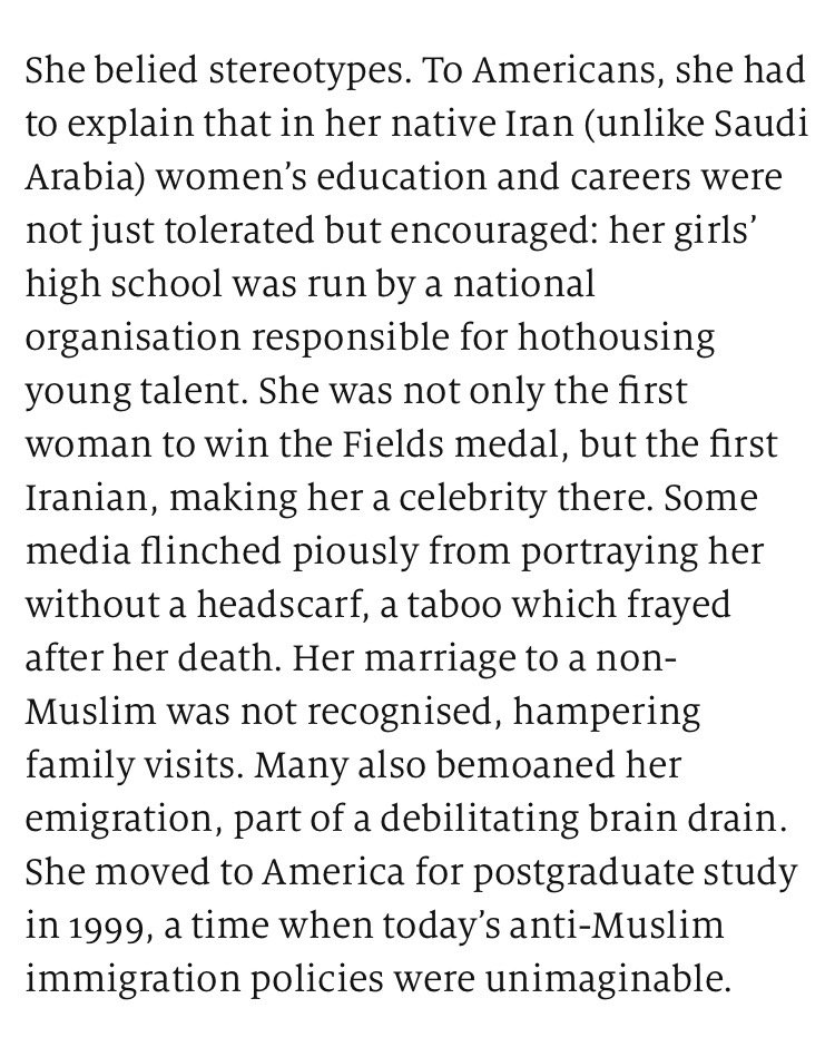 A lot to digest in this @TheEconomist obit of mathematician Maryam Mirzakhani