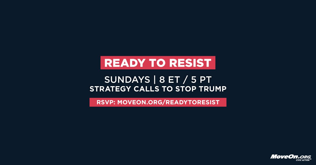 SUNDAY! Join the #ReadyToResist strategy call. More: