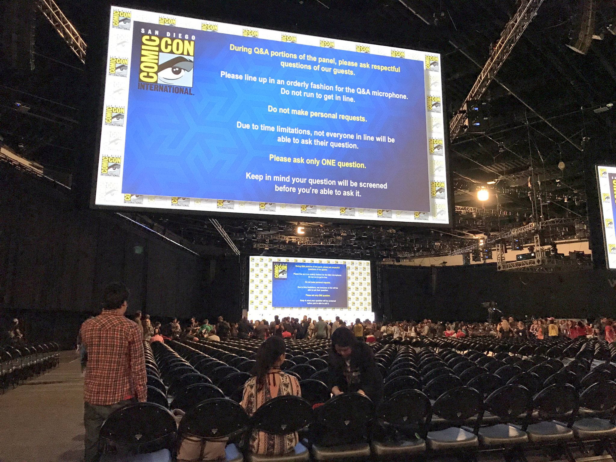 The scene inside Hall H as the crowds enter before the big day #SDCC https://t.co/3LkYj9n393