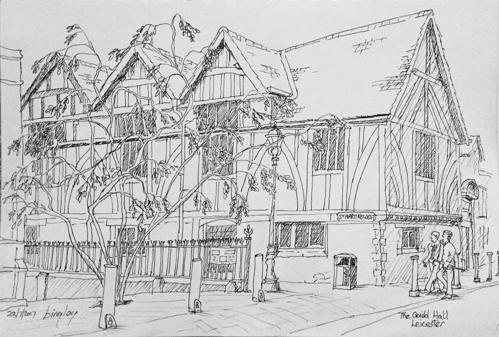 Another morning spent #Sketching This time the Guild Hall, #Leicester - drove home in the rain! #urban #pleinair<br>http://pic.twitter.com/OaEEblDBS7