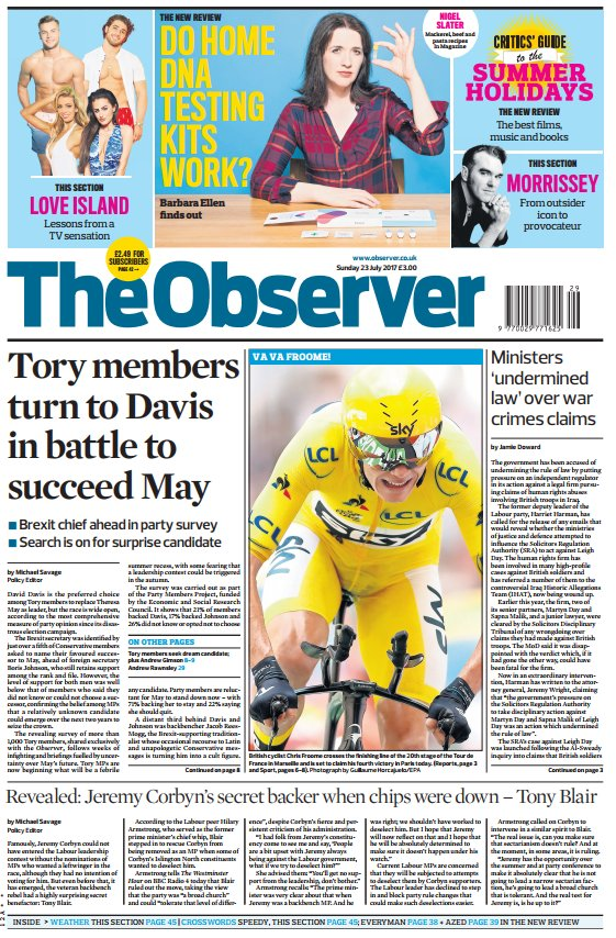 THE OBSERVER FRONT PAGE: 'Tory members turn to Davis in battle to succeed May' #skypapers