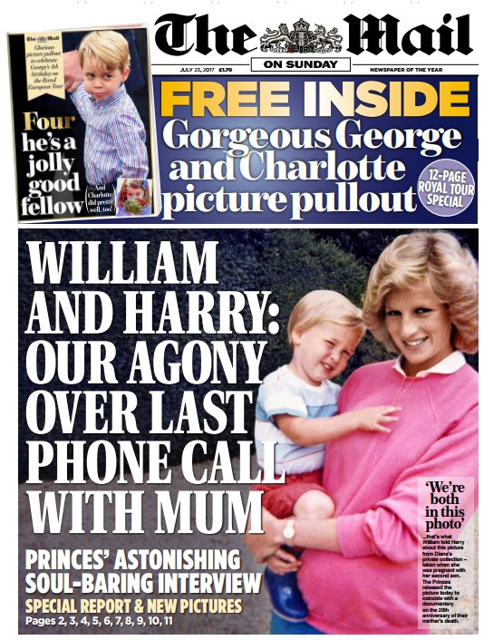 MAIL ON SUNDAY FRONT PAGE: 'William and Harry: our agony over last phone call with mum' #skypapers