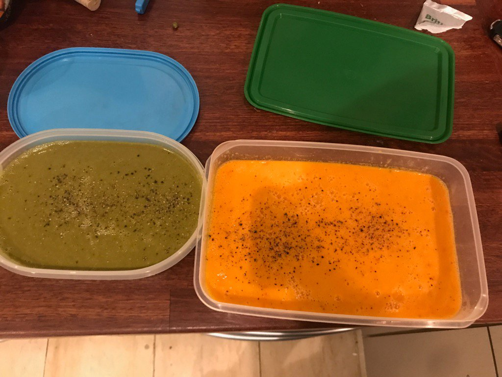 Feeling pretty pleased with myself. We are going away and I turned all the leftover veg into 2 soups for freezing. https://t.co/QOnonCrr26