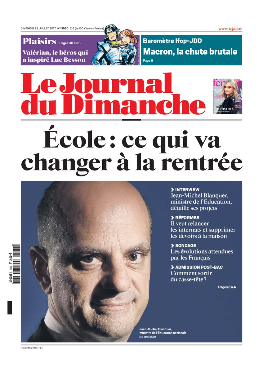 La une du JDD. > Ecole, ce qui change à la rentrée. Sondage et interview de    >@jmblanquer Baromètre : la chute brutale d'Emmanuel Macron