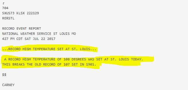 Now officially a new record high in St. Louis: 108° per @NWSStLouis. #stlwx #heatwave #dangerousheat https://t.co/0a2ORCg35X