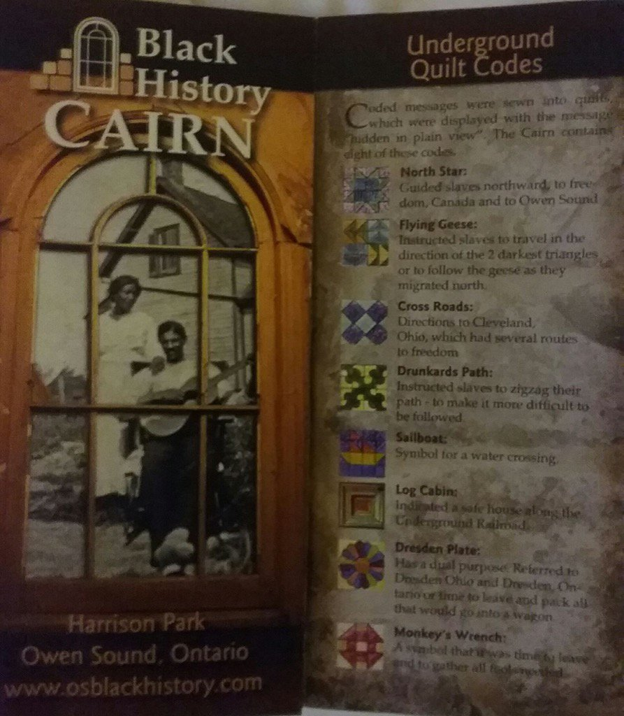 Quilt codes blacks used to escape slavery through the Underground Railroad to Canada. #quiltcodes #owensound <br>http://pic.twitter.com/r56ztjLZwp