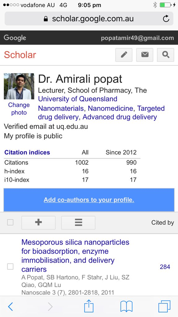Delighted to see my #googlescholar citations reached 1000. Thank you @AIBNatUQ @UQPharmacy @MaterNews @TRI_info for supporting my group<br>http://pic.twitter.com/WV4CPyJ1by