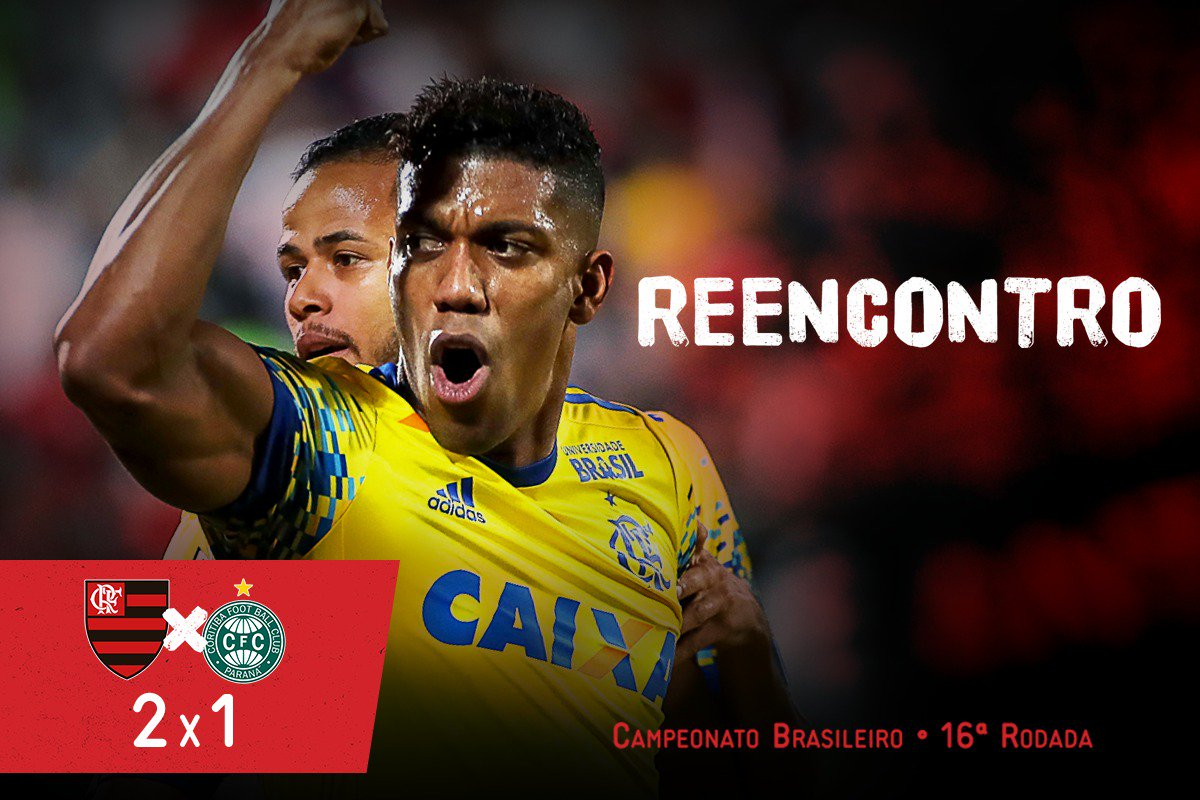 #Reencontro com a vitória e as primeiras cores de nossa história. Berrío e Everton Ribeiro marcaram e o Mengão venceu o Coritiba: 2x1!